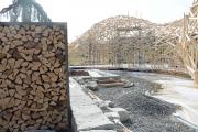 Holzlager und Holzpvaillon